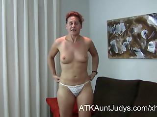 47-year older shy MILF Inge widens her legs
