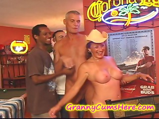 Old bitch receives a POOLHALL GANG Group sex