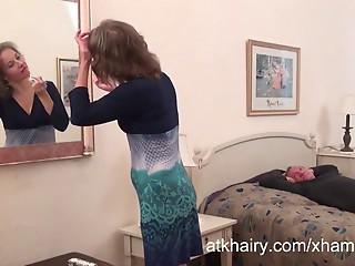 Hairy Milf Olga gets her cock