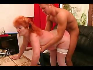 Sunburnt Redhead Old slut Copulates