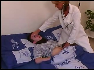 Doctor in White Nylons Treats his Swelling