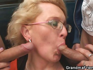 2 chaps pick up grandmother and fuck her hard