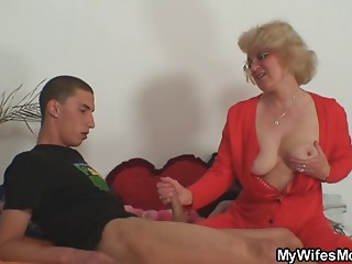 Mother-in-law takes it hard doggy position