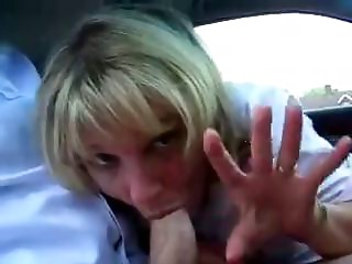Old secretary cheats with her boss at the car
