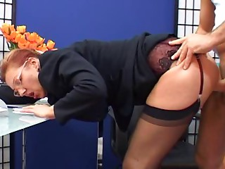 Stylish elder secretary drilled
