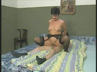 Curly Grandmother in Nylons Bonks the Lad