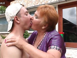 Elder old slut bonks her toy lad