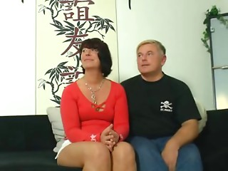 Wicked german mother takes it by 2 males on the bed