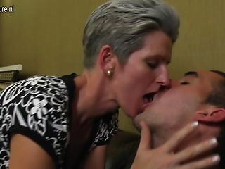 Mature skinny mom fucks her son's friend