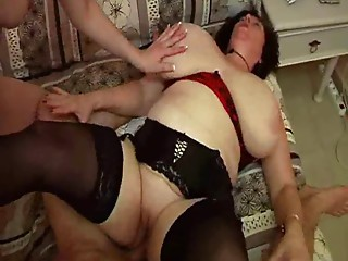 Madame Olga - Biggest Breasts & Booty Hard Trio Fucking