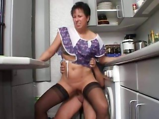 Hot Mother n108 brunette hair german old in the kitchen