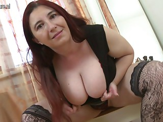 Busty mamma playing with her marangos and bawdy cleft