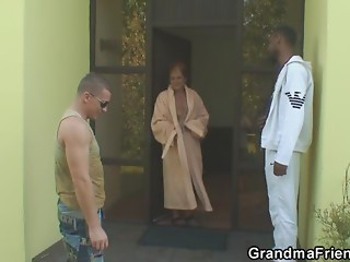 Lonely grandma acquires pounded by 2 lustful dudes
