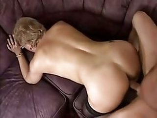 Little Breasted Old bitch in Lace Top Stockings Copulates