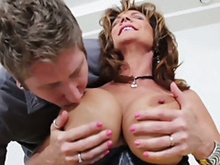 Nasty mature bitch Deauxma seduces the juvenile stud and swallows his wang
