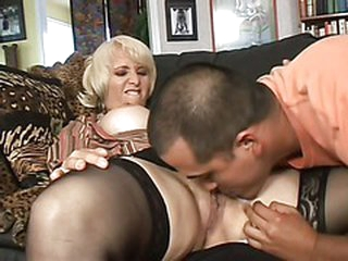 Sex obsessed golden-haired mom Sophie Bra buddies with wet pierced twat
