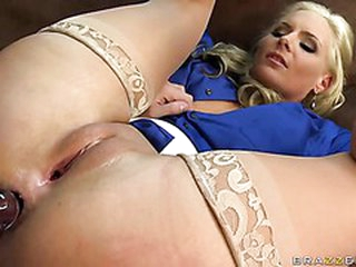 Big racked golden-haired teacher Phoenix Marie in sheer nylons does
