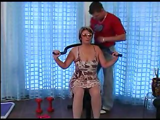 Old slut in Glasses and Nylons Engulf and Bang