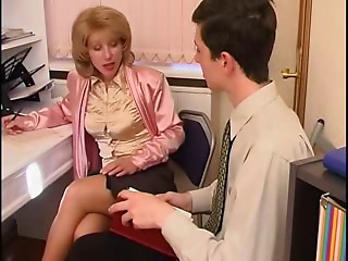 Cougar in Nylons Teases the Chap