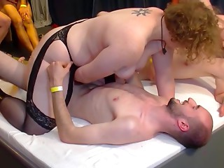 Perverted aged mama acquires hard group-sex
