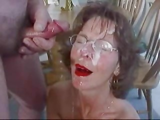 Bizarre Elder Facial Lot Cum