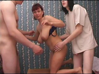 Russian old mamma and allies her son's! Amateur!