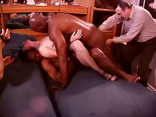 White Hotwife in a Room Full of Ebony Bulls