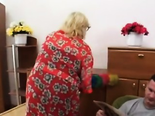 Chubby Blonde Old slut Copulates Younger Fellow