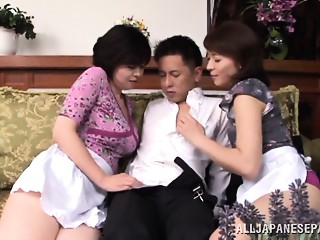 Wicked Japanese AV model and hot maid share hard shlong