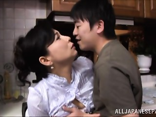 Mai Itou sexy older Oriental hottie receives screwed in the kitchen