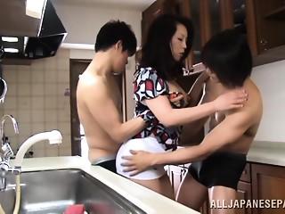 Sexy Japanese wife Neko Ayami in wicked 3some
