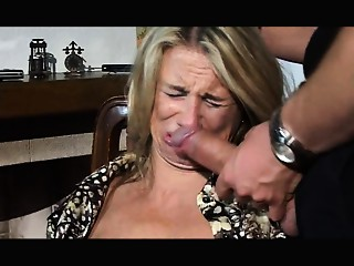 Hesitant MILF screwed in throat, slit and a-hole