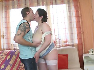 Real mama with massive bra buddies bang not her son