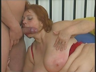 Bigtitted Corpulent Older in Nylons Sucks and Bonks