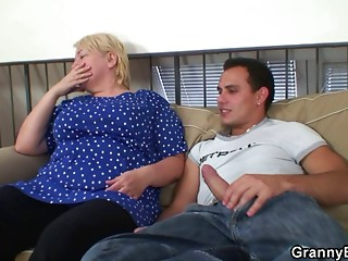 Excited juvenile dude bangs mature golden-haired woman