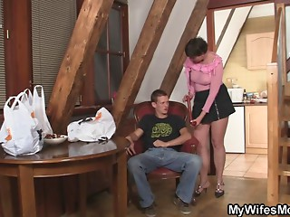 Schlong hungry old slut seduces her son in law