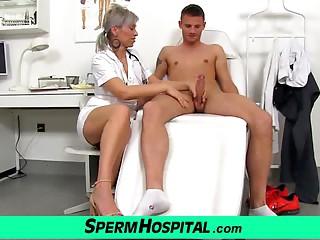 A guy cum on meatballs of hawt slim cougar doctor Beate