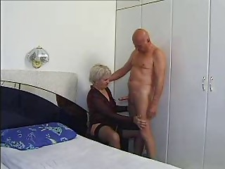 Grandmother Reward Forty seven shaggy elder with a mature  stud
