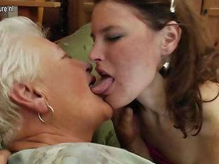 Older grandma on juvenile lesbo hotty