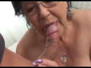 grandma's sexy hairless cunt receives cum dumped in her