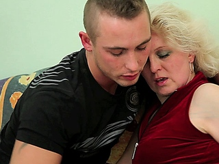Aged blond chick enjoys getting screwed by her younger paramour