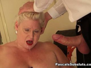 BBW blond British cougar anal