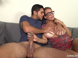 Breasty Gal With Glasses Rubs 10-Pounder Seventy five