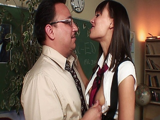 Slutty teacher fucking his sexy student in uniform