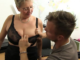 XXX OMAS - Bawdy Germany old bitch takes 10-Pounder at the office