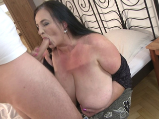 Stefanka plays with a hard schlong