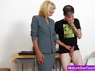 Mother teacher playing plus a dick