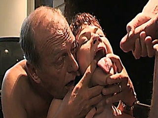 Sexually excited daddy and son take mommy and gf for sexy fuckfest
