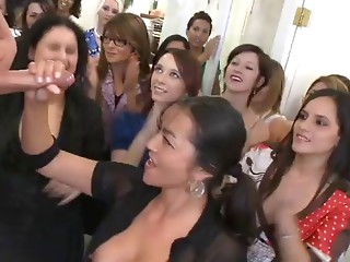 Breasty older does tugjob in public
