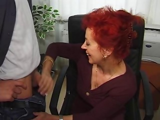 Sexy Euro Elder Redhead Bangs In Office
